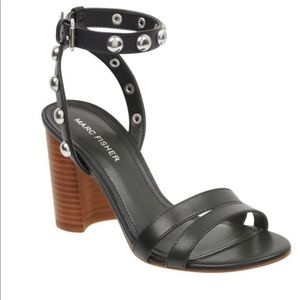 Marc Fisher Black Stud Black Heel Sandals